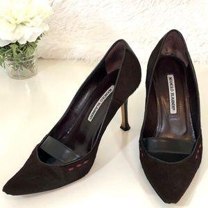 Manolo Blahnik   Dark Brown Calf Hair Heels